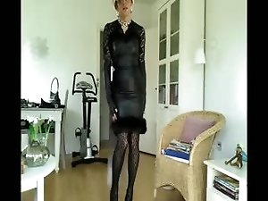 Sissy sexy black leather dress 1