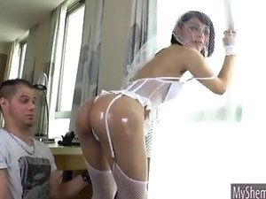 Horny shemale ass nailed and facialed