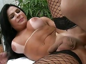 Latina TS in fishnet stockings analized