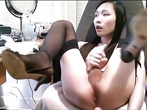 Ladyboy Jerks Off In Office Then Fucks Herself With A Dildo